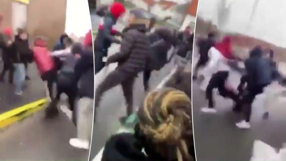 Enkele schermafbeeldingen van de video's waarop de vechtende jongeren te zien zijn.