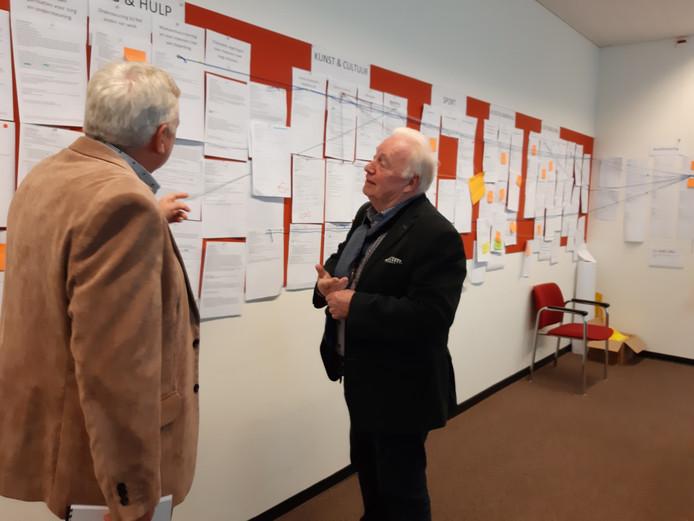In het gemeentehuis is een aparte kamer ingericht waar alle afdelingen ideeen door konden bespreken om de begroting sluitend te krijgen. Tussen de verschillende onderwerpen lopen letterlijk lijntjes. Hier bekijken wethouders Piet Poos (links) en Johan Swaans de diverse onderwerpen.