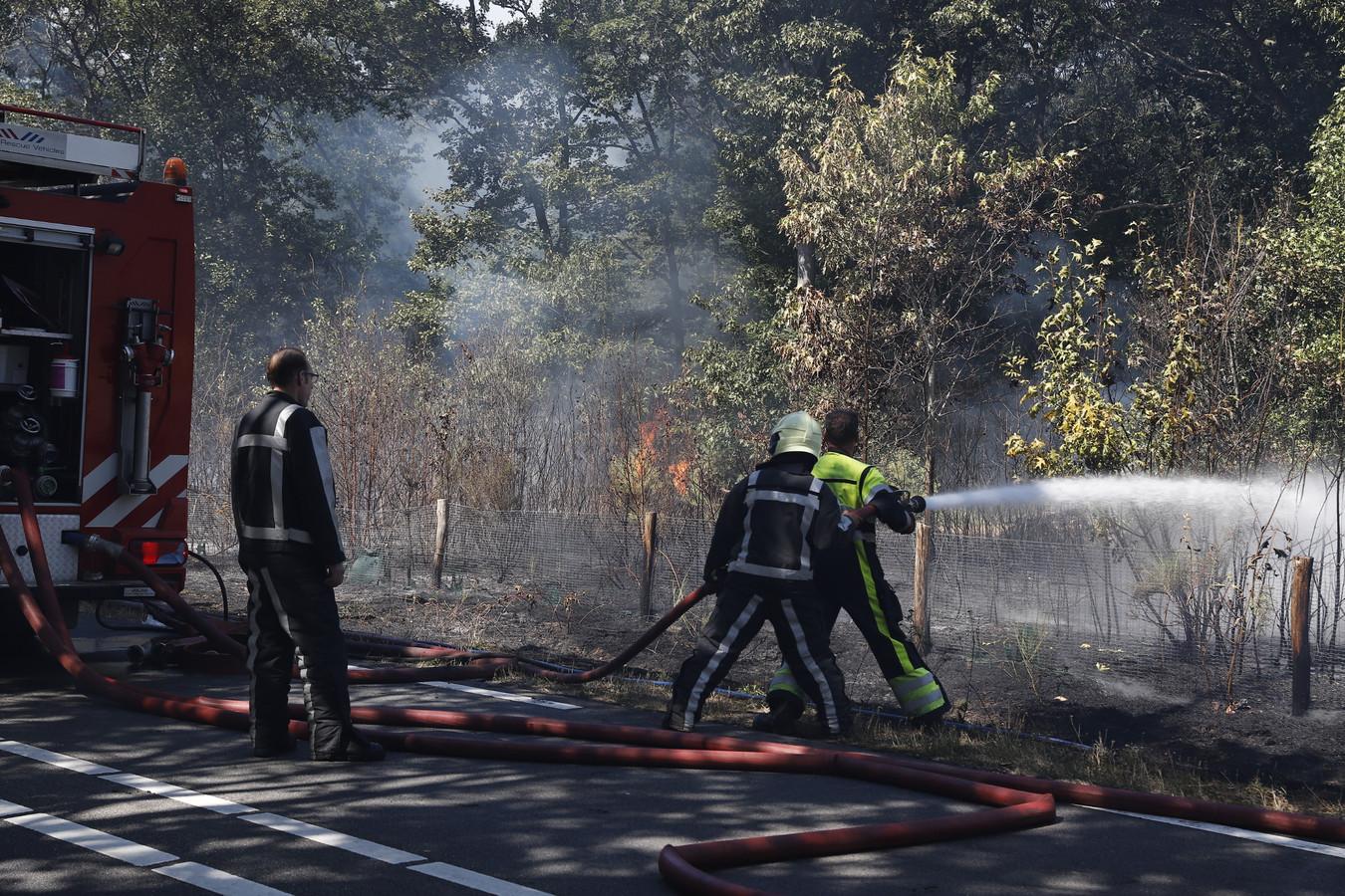 De brandweer blust een natuurbrand aan de Bosweg in Mill.