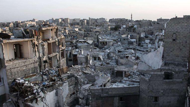 De al-Kalasa streek in Aleppo, gefotografeerd op 28 oktober 2014 door KARAM AL MASRI Beeld afp