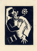 Jan Naaijkens, Zelfportret - 1943, lino 115 x 84 mm.