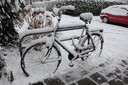 Is dit een fiets of een sneeuwsculptuur.