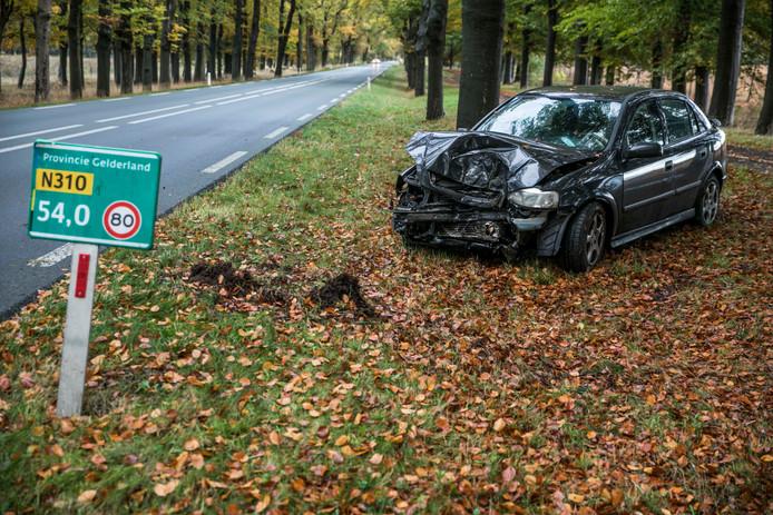 De auto ramde door onbekende oorzaak een boom langs de N310.