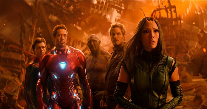 Tom Holland, Robert Downey Jr., Dave Bautista, Chris Pratt en Pom Klementieff in 'Avengers: Infinity War'.