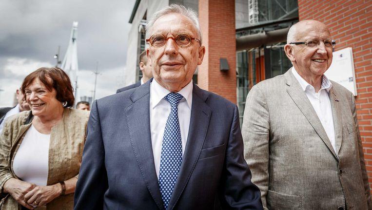 Oud-wethouder Jos van Rey arriveert bij de rechtbank in Rotterdam, waar hij de uitspraak in zijn strafzaak hoort. Beeld anp