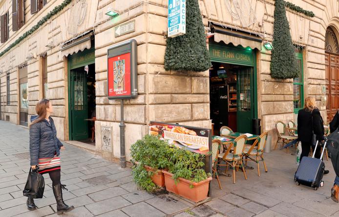 De kroeg in Rome waar het steekincident plaatsvond.