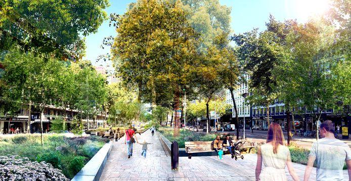 Nu wordt de Westblaak nog gedomineerd door autoverkeer. Met de aanleg van het Blaakpark krijgen voetgangers en fietsers meer ruimte.