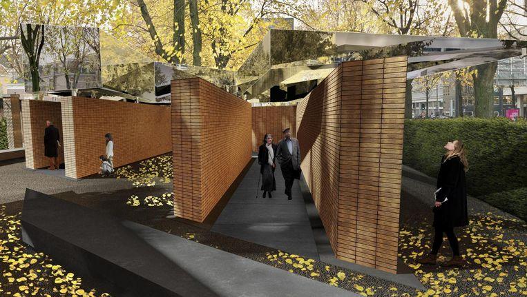 Het definitieve ontwerp van het monument aan de Weesperstraat. Beeld Studio Libeskind