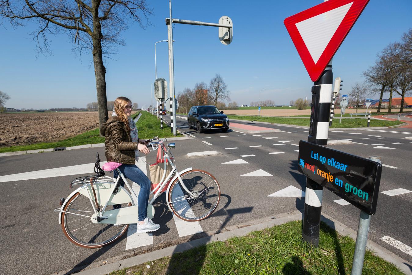 Wachten bij de kruising van de Oostsingel met de Broekstraat in Duiven.