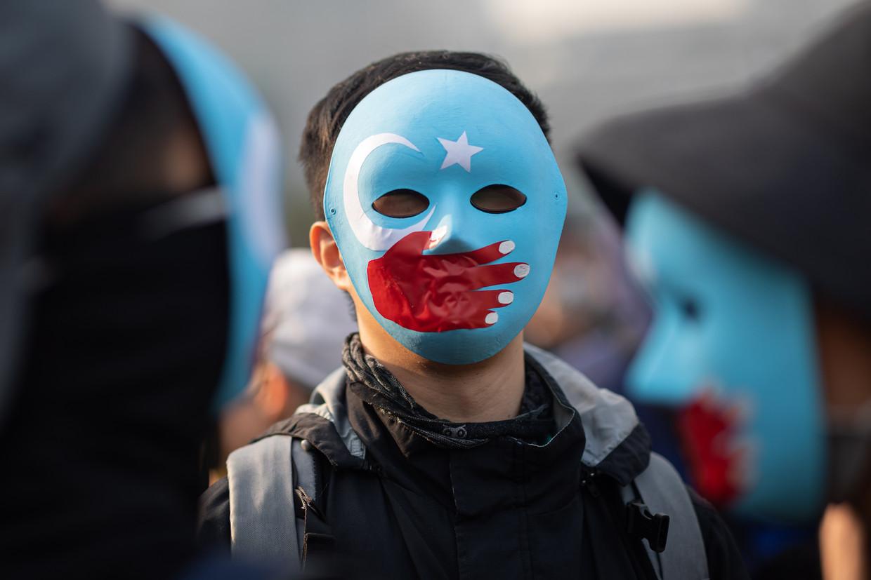 Een betoging van Oeigoeren in Hongkong. Beeld Hollandse Hoogte/EPA