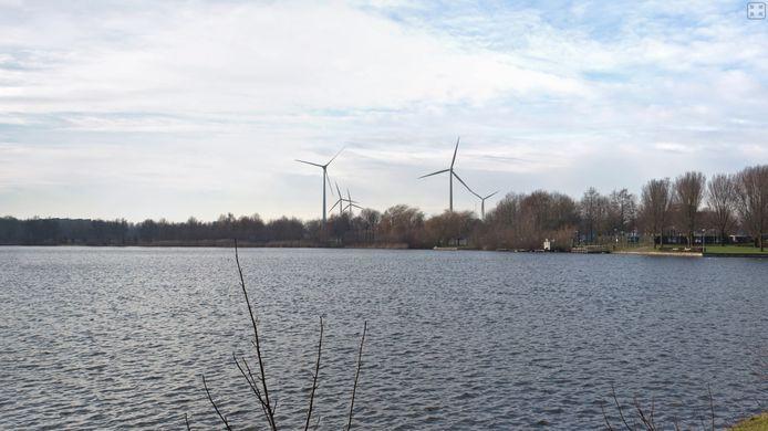 Visualisatie  van de (te bouwen) windturbines op de Rietvelden. De meest links molen is de bestaande op Treurenburg, de tweede van rechts de vierde molen aan de Gemaalweg.
