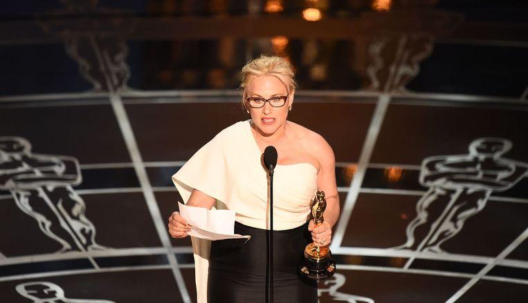 Patricia Arquette tijdens haar speech over gelijkwaardige betaling tussen man en vrouw. Beeld anp