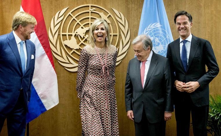Koning Willem-Alexander, koningin Maxima en premier Rutte hebben een ontmoeting met secretaris-generaal van de Verenigde Naties, Antonio Guterres, tijdens de 74e Algemene Vergadering van de Verenigde Naties in New York.  Beeld ANP