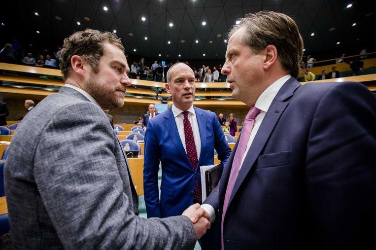 Fractieleiders Dijkhoff (VVD), Segers (ChristenUnie) en Pechtold (D66). Beeld anp