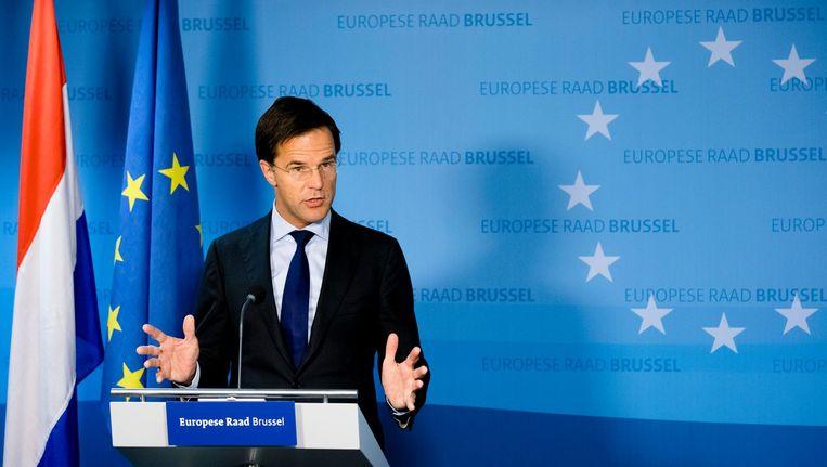 Premier Rutte op een persconferentie na twee dagen onderhandelen over het Europees industrie- en handelsbeleid, in oktober. Beeld anp