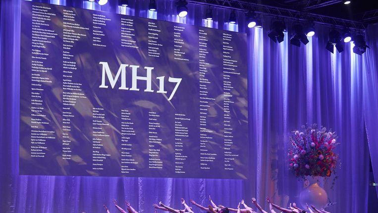 Dansers treden op tijdens de herdenking in Nieuwegein. Beeld anp