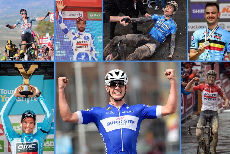 Boven: Wellens, De Gendt, Van Aert en Campenaerts Onder: Van Avermaet, Lampaert en Benoot