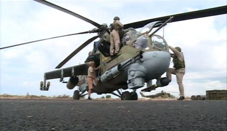 Een Russische helikopter in Syrië. Beeld Reuters