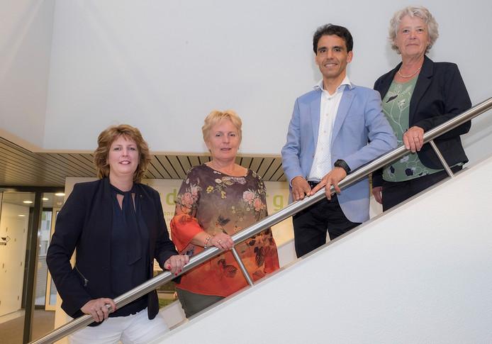 Het nieuwe college: vlnr  Sylvia Fleuren, Irma van de Scheur, Nelson Verheul en Annelies Visser.