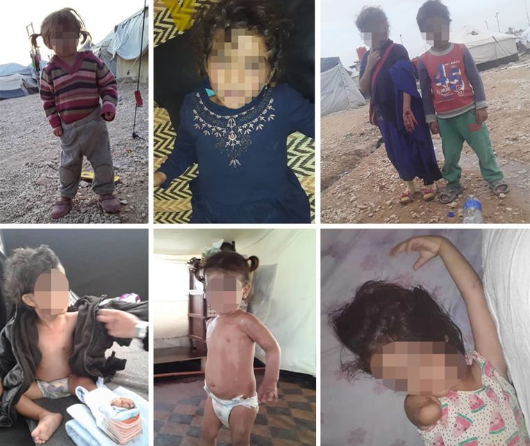 Boven, vlnr, van Nadia Baghouri (28) en haar omgekomen man Mohamed Mezroui: dochter van 2 (geboren in Syrië), dochter van 4 (geboren in Syrië), dochter van 7 (geboren in België) en zoon van 5 (geboren in Syrië). Onder, vlnr, van Sabah Hammani (28) en haar omgekomen man Mohamed Boudasis: zoon van 3 (geboren in Syrië), dochter van 2 (geboren in Syrië), dochter van 4 (geboren in Syrië)