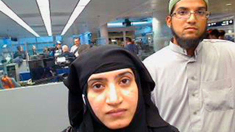 Tashfeen Malik en Syed Farook, die een aanslag in San Bernardino pleegde.