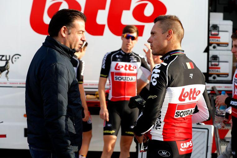 John Lelangue met Philippe Gilbert.