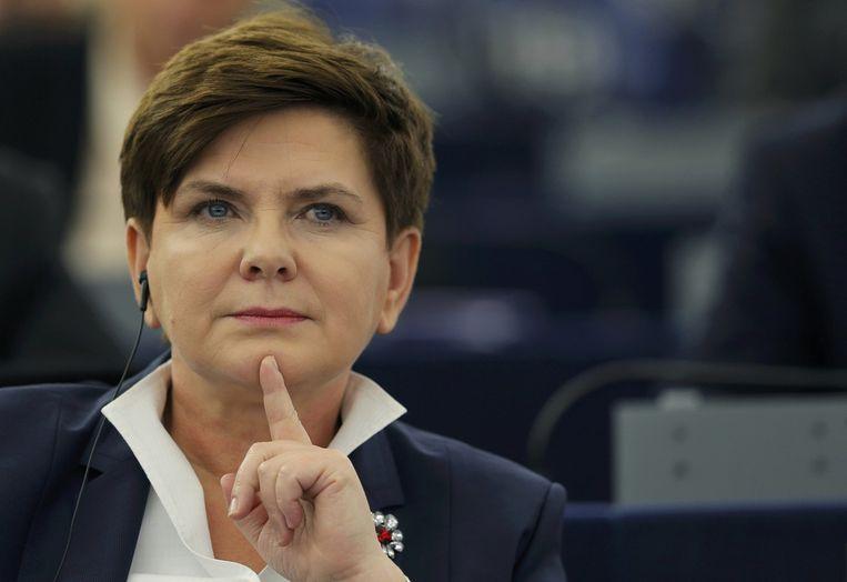 Beata Szydlo tijdens het debat over persvrijheid in haar land. Beeld reuters