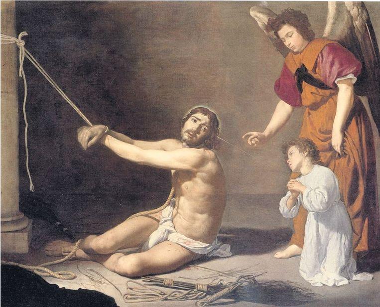 Zijn afbeelding op een zeventiende-eeuws schilderij van Velázques Beeld National Galler,y Londen