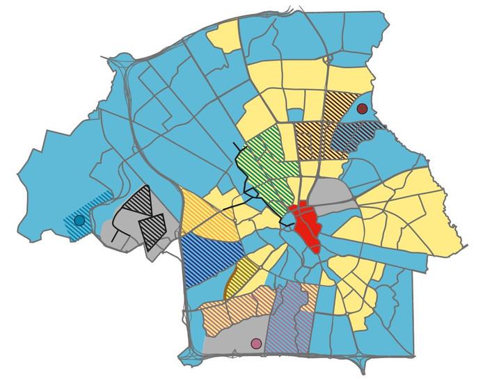 Kaart met mogelijke alternatieve warmtebronnen in de stad Eindhoven.