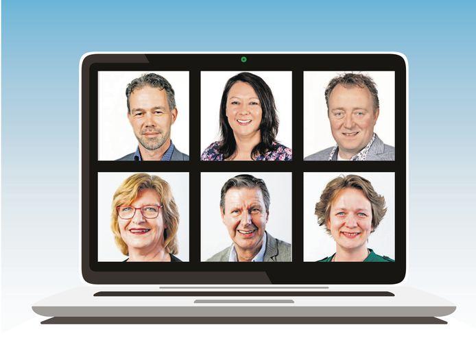 Van linksboven naar rechtsonder de raadsleden Léon Dekkers (D66), Tamara Zonnenberg (Lijst Zonnenberg) en Joris Giesen (CDA) uit Lingewaard en Jacky Versluis (CDA), Henk Vreman (GBO) en Hanneke Bruinsma (GroenLinks) uit Overbetuwe. De meningen over echt of digitaal vergaderen lopen sterk uiteen.