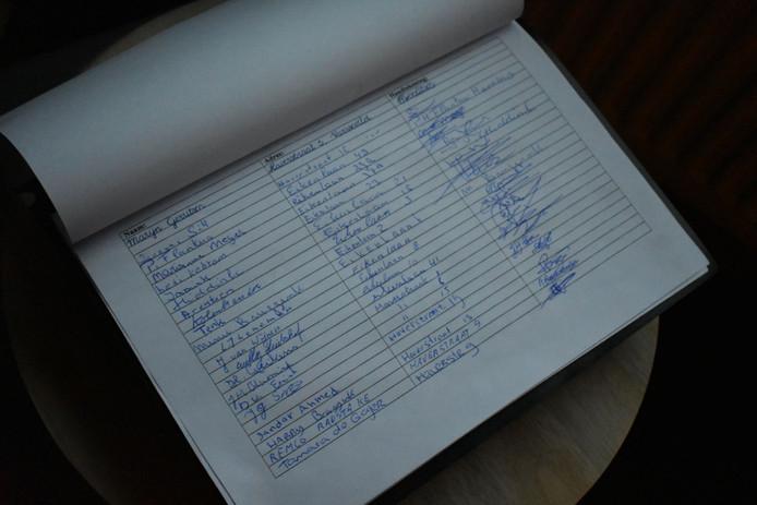 Enkele van de tientallen handtekeningen die zijn gezet.