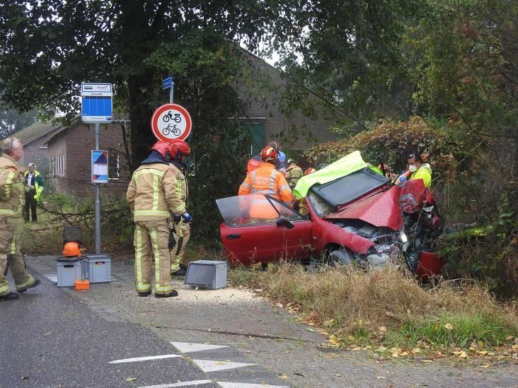 Automobilist raakt van de weg en knalt in tuin tegen boom in Budel, man gewond naar ziekenhuis