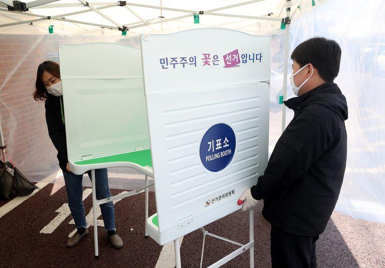Voorbereidingen voor de verkiezingen in Zuid-Korea.  Beeld EPA