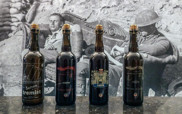 De vier bieren die in brouwerij Kazematten worden gemaakt: Saison Tremist, Wipers Times 16, Grotten Santé en Wipers  Times 14.