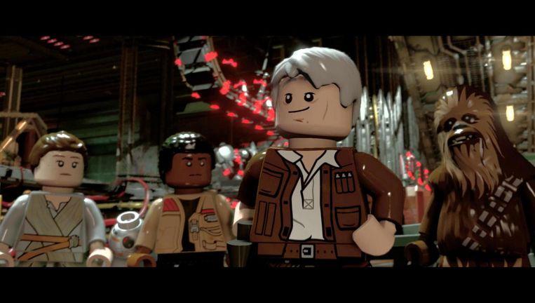 Harrison Ford ziet er in LEGO Star Wars: The Force Awakens opvallend jeugdig uit voor een acteur van voor in de zeventig. Botox? Of blokjes? Beeld Traveller's Tales