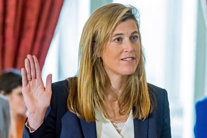 Topadvocate Annelies Verlinden (CD&V) tijdens de eedaflegging bij Koning Filip. (01/10/2020)