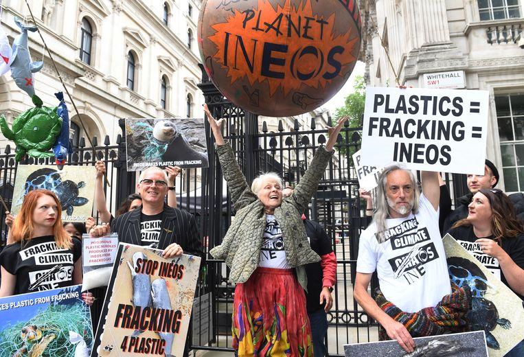 Anti-fracking demonstratie in Londen vorig jaar. Beeld EPA