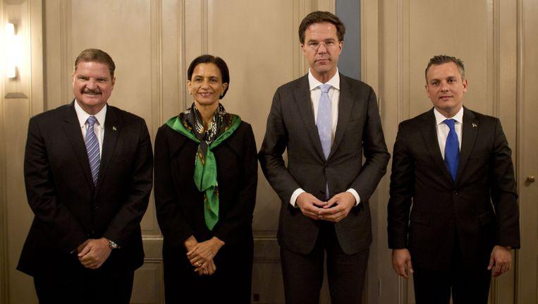 De premiers van het Koninkrijk, rechts Schotte van Curacao Beeld ANP
