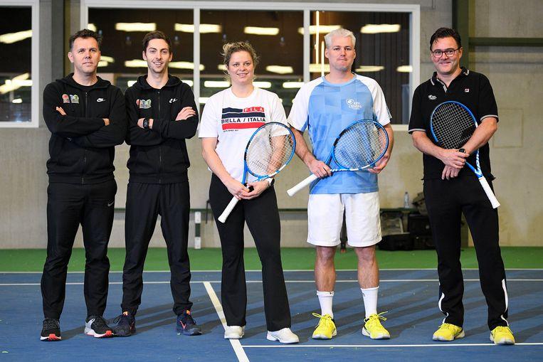 Team Clijsters: osteopaat Sam Verslegers, fitnesstrainer Matthijs Van Speybroeck, hoofdcoach Fred Hemmes Jr en adviseur Carl Maes.