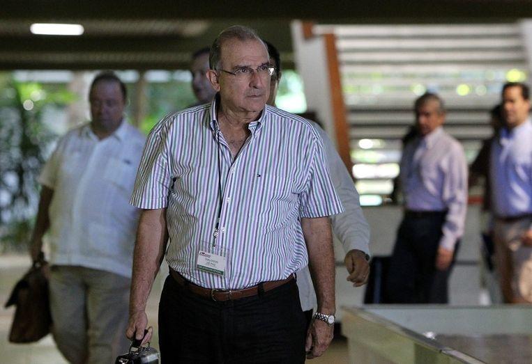 Humberto De la Calle, leider van de Colombiaanse regeringsdelegatie, afgelopen maandag in Havana. Beeld epa