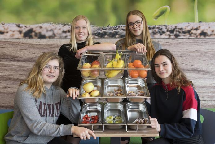De gezonde producten van het Zone College met vanaf links: Ella Schutte, Eva te Morsche, Veronique Smit en Emma Jolink.