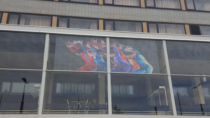 Het glasledscherm op Hotel Haarhuis