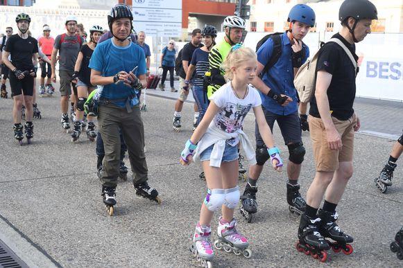 Een beeld van de Rollerparade in Leuven.
