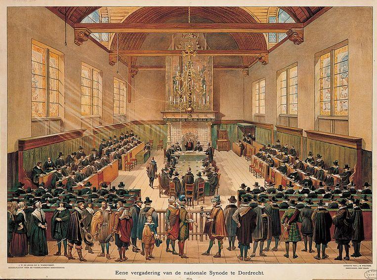 Bij de Synode van Dordrecht (1618-1619) werden remonstranten uit de kerk verbannen. Beeld RV