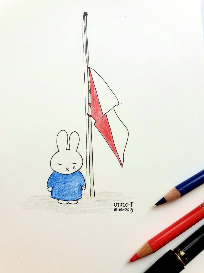 De vlaggen op overheidsgebouwen hangen vandaag half stok. Tekening Lana Leesvoer