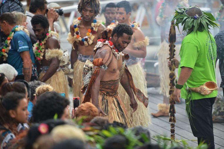 Inwoners van Fiji komen aan in Australië om bij de wereldleiders aandacht te vragen voor de gevolgen van klimaatverandering voor hun eilandengroep Beeld afp