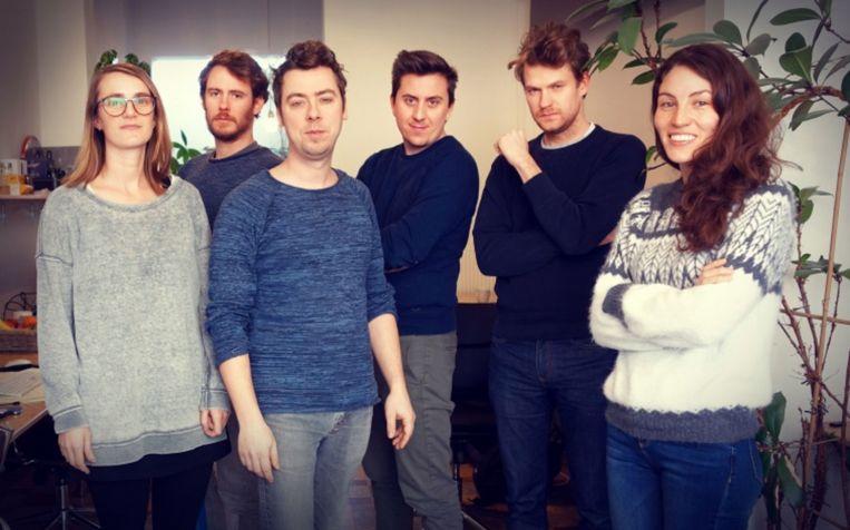 Het team van Shtick met  vlnr: Emilie Dieryck, Lev Detrez, Yves Hellemans, Bas Derks, Rienk Michielsen en Sarah Herlant.