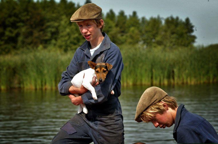 Beeld uit de film De schippers van de Kameleon. Tweeling Koen en Jos van der Donk als Hielke en Sietse Klinkhamer. Beeld ANP