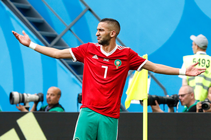 Middenvelder Hakim Ziyech tijdens de WK-wedstrijd in 2018