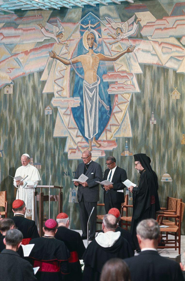In 1969 bezocht paus Paulus VI ook de Wereldraad van Kerken in Genève. Beeld Gettyimages
